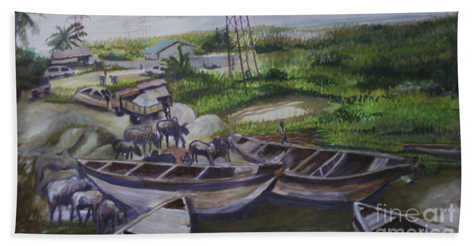 Landscape Hand Towel featuring the painting Serenity Of Waterside by OLADIMEJI Oluwagbemiga Isaac