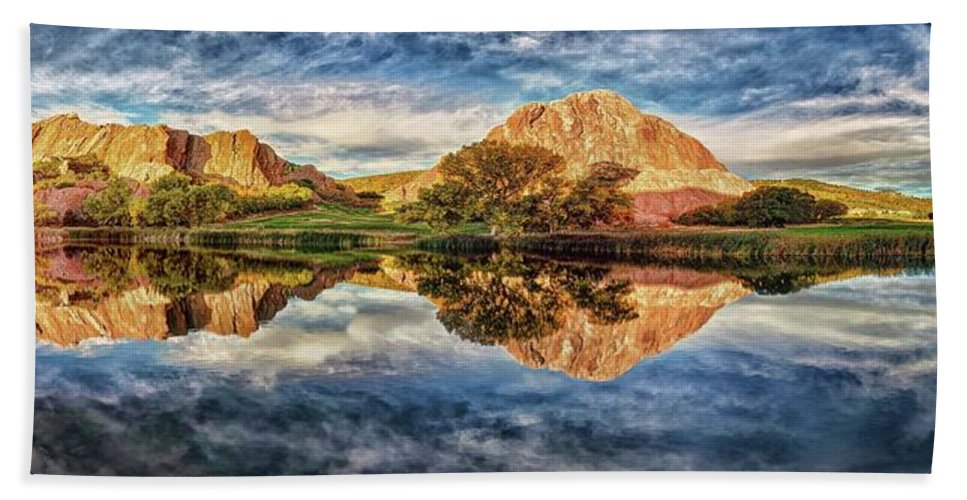Knife Painting Hand Towel featuring the photograph Serenity - Reflection by OLena Art Brand