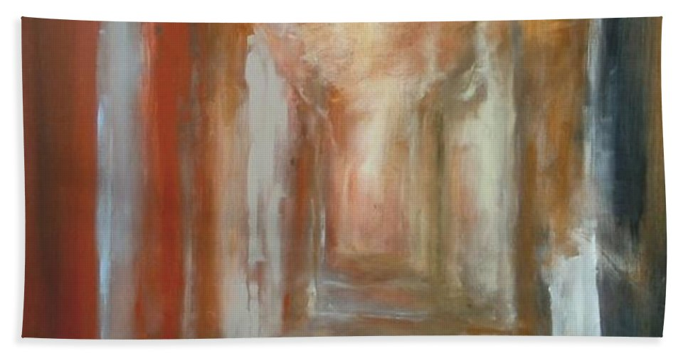Abstract Bath Sheet featuring the painting Serenity by Rome Matikonyte
