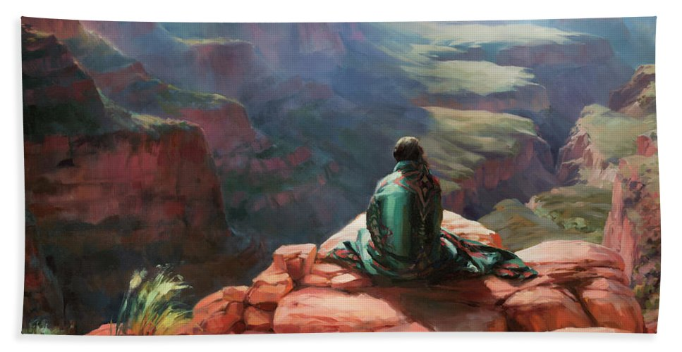 Southwest Bath Towel featuring the painting Serenity by Steve Henderson