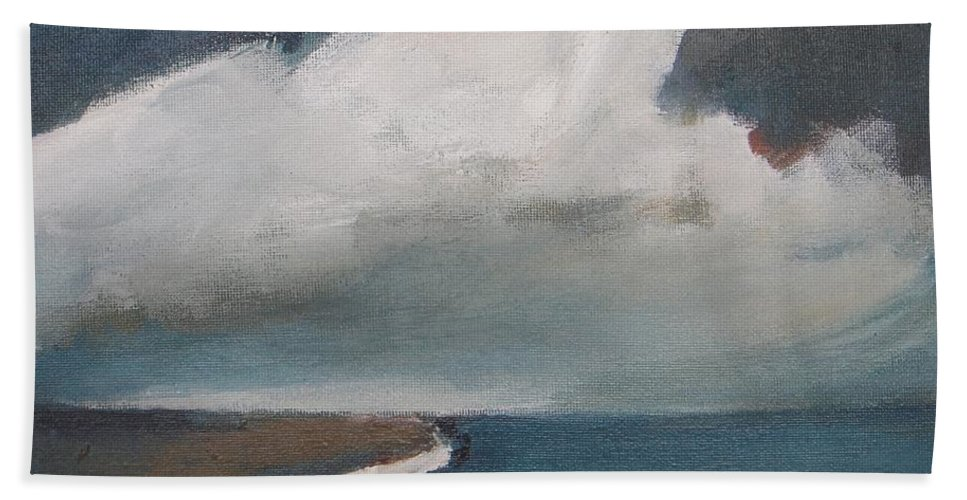 Seascape Hand Towel featuring the painting Serenity Under Clouds by Vesna Antic