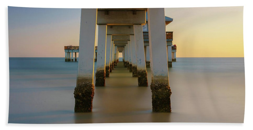 Pier Hand Towel featuring the photograph Serenity Under The Pier by Mark Robert Rogers