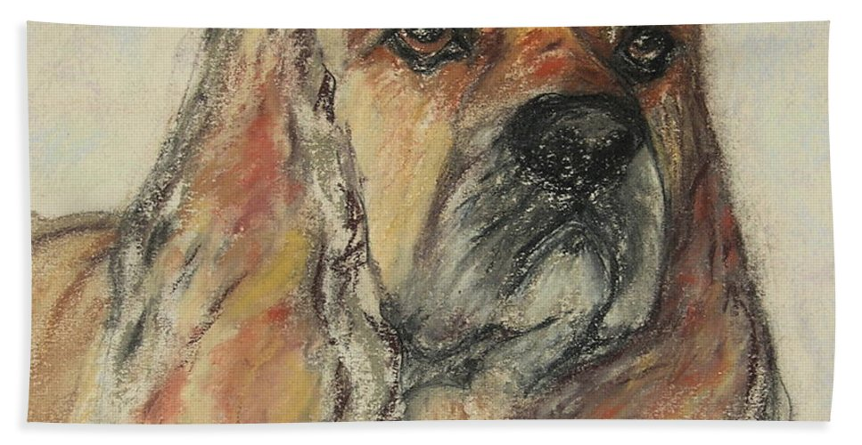 Dog Hand Towel featuring the drawing Serious Intent by Cori Solomon