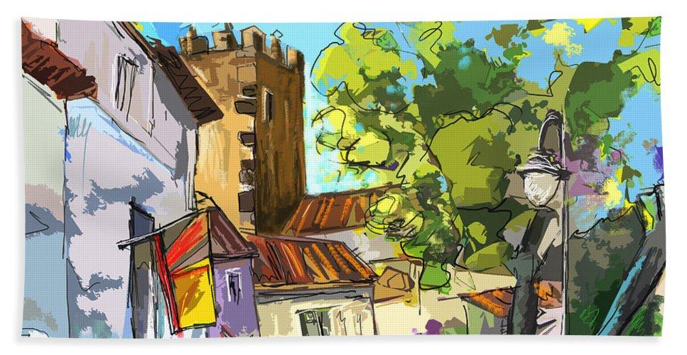 Painting Serpa Portugal Alentejo Travel Sketches Bath Towel featuring the painting Serpa Portugal 01 Bis by Miki De Goodaboom