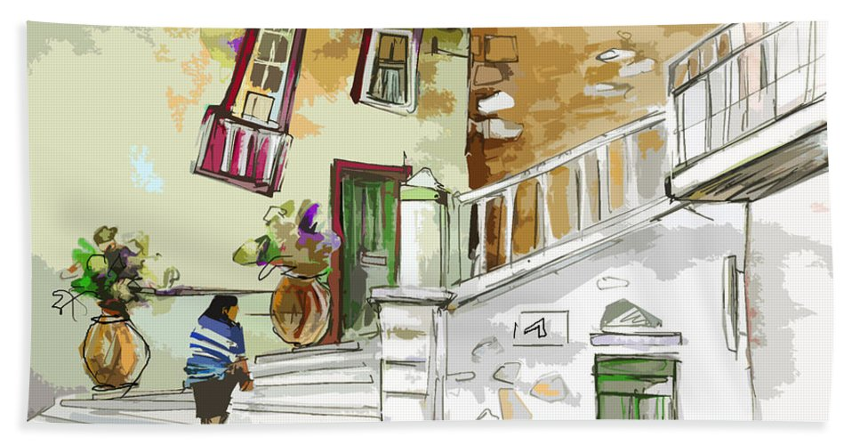 Painting Of Serpa Alentajo Portugal Travel Sketch Hand Towel featuring the painting Serpa Portugal 03 Bis by Miki De Goodaboom