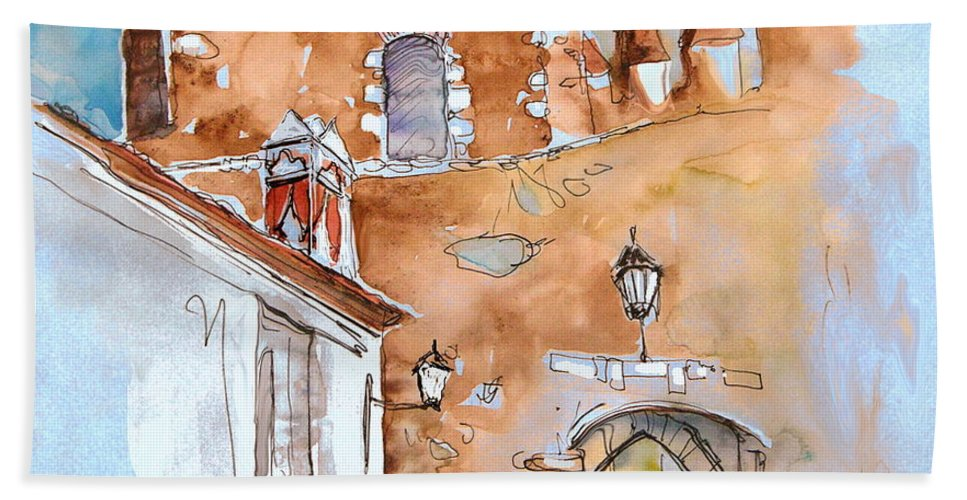 Water Colour Painting Serpa Portugal Bath Towel featuring the painting Serpa Portugal 29 by Miki De Goodaboom