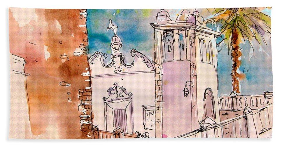 Water Colour Painting Serpa Portugal Bath Sheet featuring the painting Serpa Portugal 31 by Miki De Goodaboom