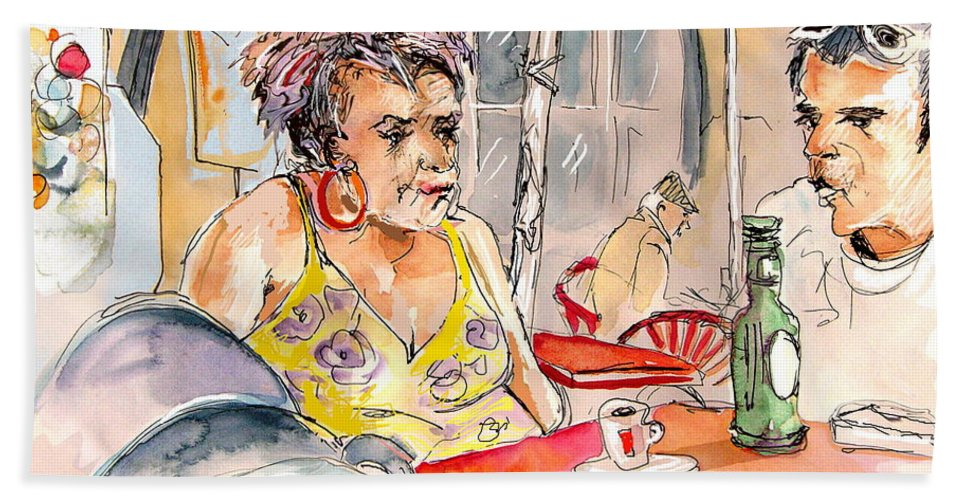 Water Colour Aquarelle Drawings Caricatures From People In Serpa Portugal By Miki Bath Towel featuring the painting Serpa Portugal 34 by Miki De Goodaboom