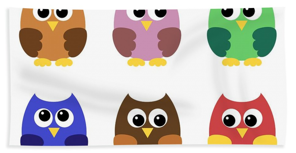 Adorable Hand Towel featuring the digital art Set Of Six Little Owlets by Miroslav Nemecek