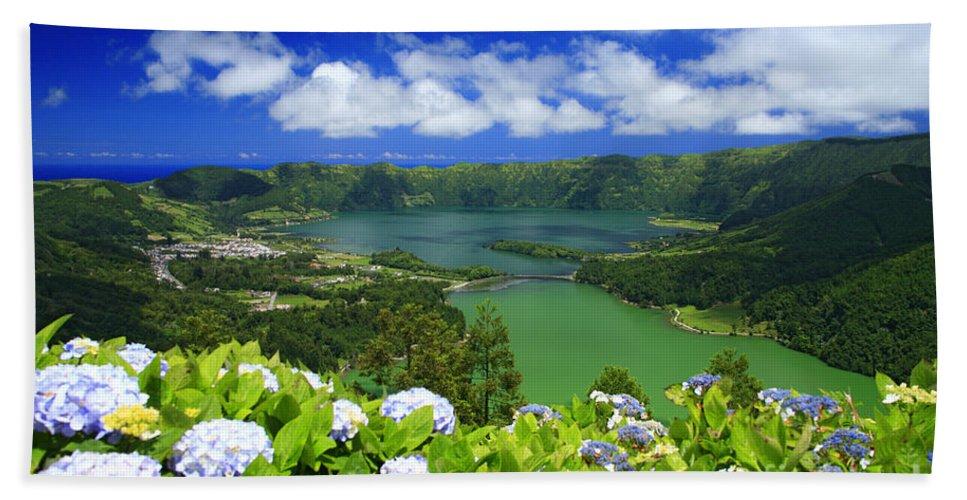 Sete Cidades Bath Towel featuring the photograph Sete Cidades Crater by Gaspar Avila