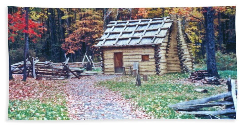 Log Cabin Hand Towel featuring the photograph Settler by Penny Neimiller