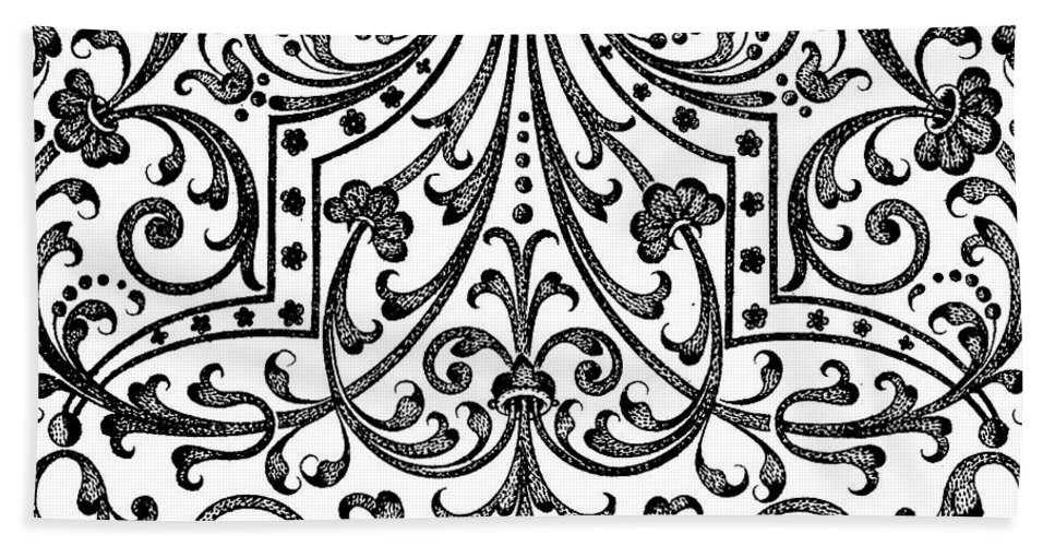 Vintage Bath Sheet featuring the drawing Seventeenth Century Parterre Pattern Design by Jacques Mollet