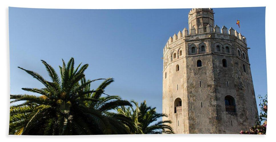 Torre Del Oro Hand Towel featuring the photograph Seville - A View Of Torre Del Oro 2 by Andrea Mazzocchetti
