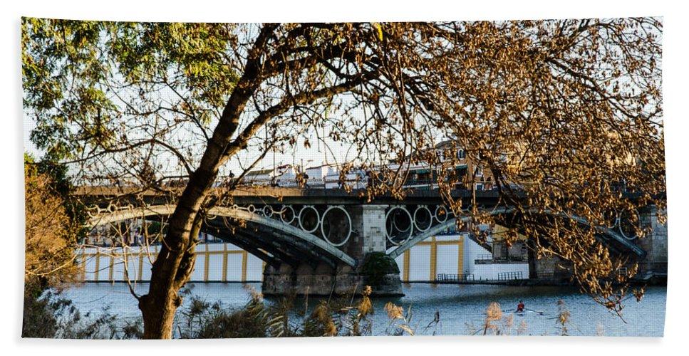 River Hand Towel featuring the photograph Seville - The Triana Bridge 2 by Andrea Mazzocchetti