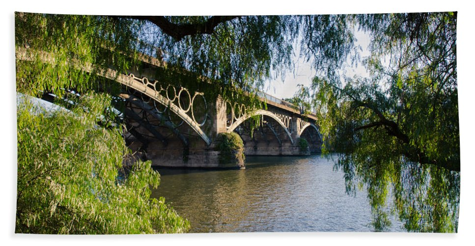 River Hand Towel featuring the photograph Seville - The Triana Bridge by Andrea Mazzocchetti