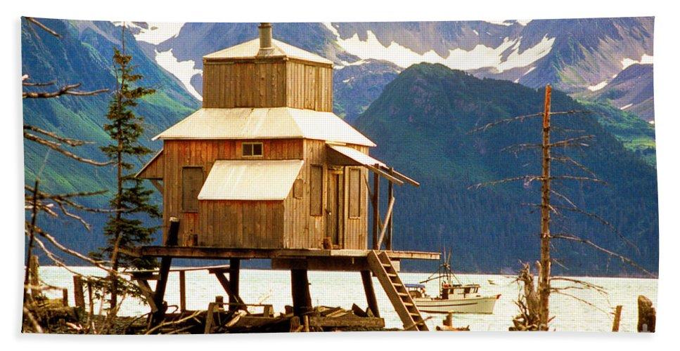 Alaska Bath Sheet featuring the photograph Seward Alaska House Of Stilts by James BO Insogna