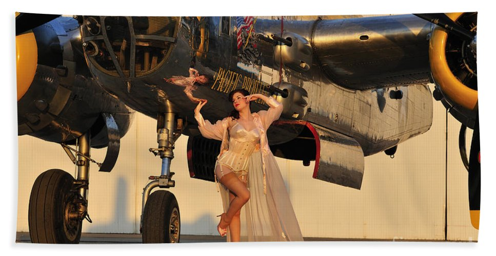 B-25 Hand Towel featuring the photograph Sexy 1940s Pin-up Girl In Lingerie by Christian Kieffer