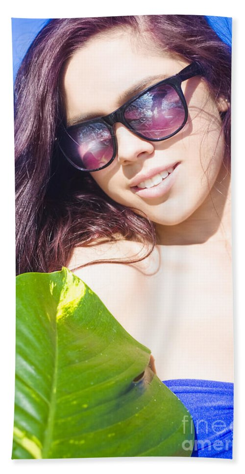 Attractive Hand Towel featuring the photograph Sexy Beach Girl With Leaf by Jorgo Photography - Wall Art Gallery