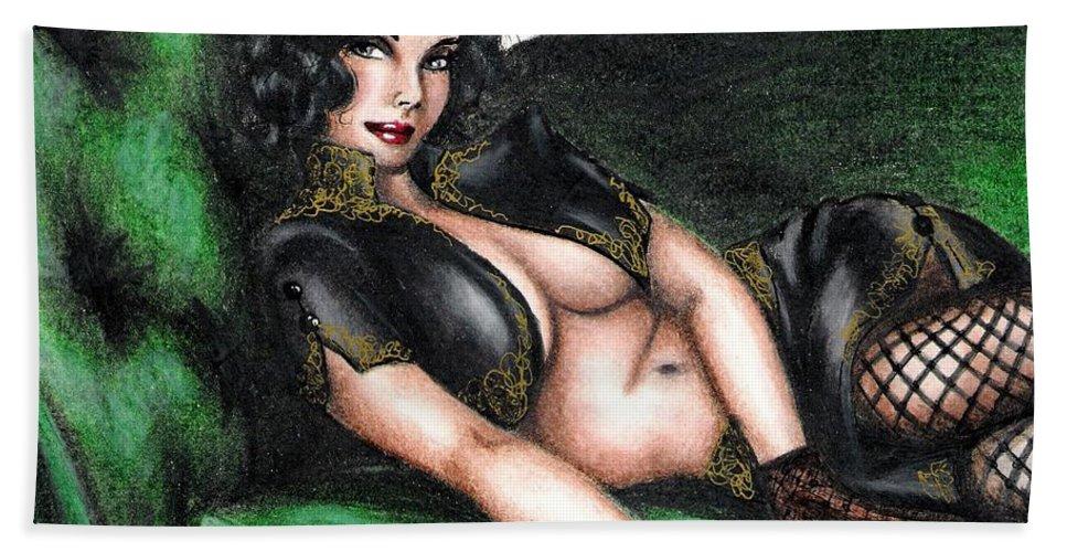 Figure Bath Towel featuring the drawing Sexy Flirt by Scarlett Royal