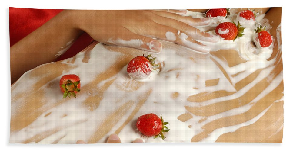Woman Bath Towel featuring the photograph Sexy Nude Woman Body Covered With Cream And Strawberries by Maxim Images Prints
