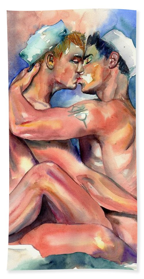 Love Bath Towel featuring the painting Sexy Sailors by Suzann Sines