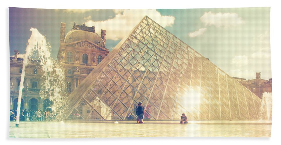 Architecture Bath Sheet featuring the photograph Shabby Chic Louvre Museum Paris by Sandra Rugina