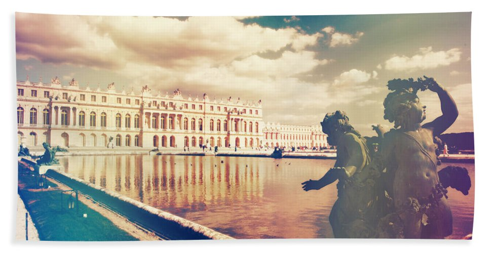 Angle Bath Sheet featuring the photograph Shabby Chic Versailles Palace Gardens by Sandra Rugina