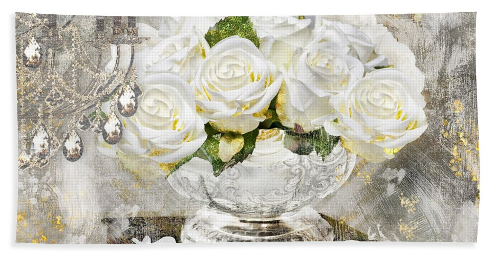 Shabby Roses Bath Sheet featuring the painting Shabby White Roses With Gold Glitter by Mindy Sommers