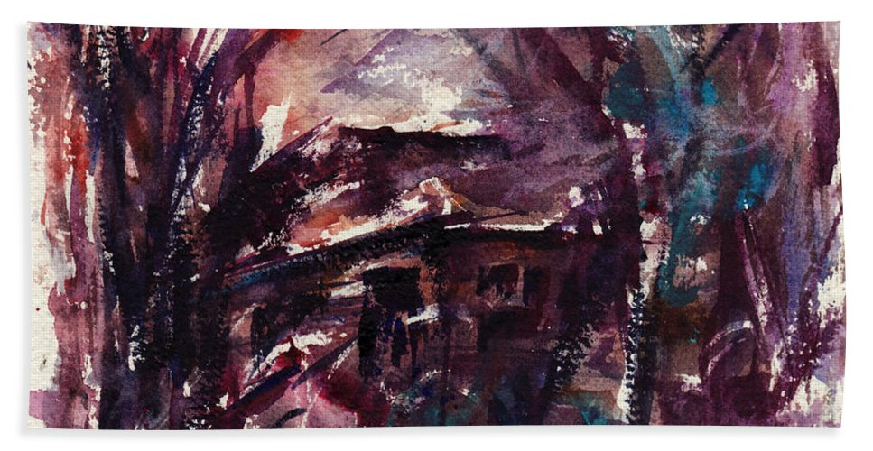 Shack Hand Towel featuring the painting Shack Second Movement by Rachel Christine Nowicki