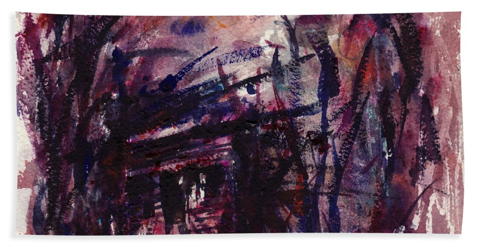 Shack Bath Towel featuring the painting Shack Third Movement by Rachel Christine Nowicki