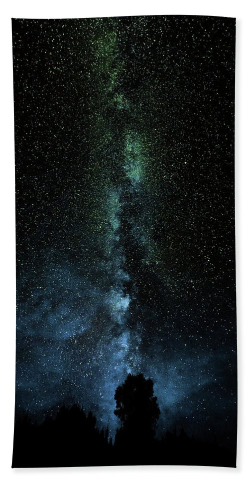 Milky Way Stars Night Sky Trees Blue Green Purple Black White Cosmos Vast Sky Wonder Thunder Bay Ontario O'conner Kakabeka Falls Canada Hand Towel featuring the photograph Shades Of Blue by Chris Artist