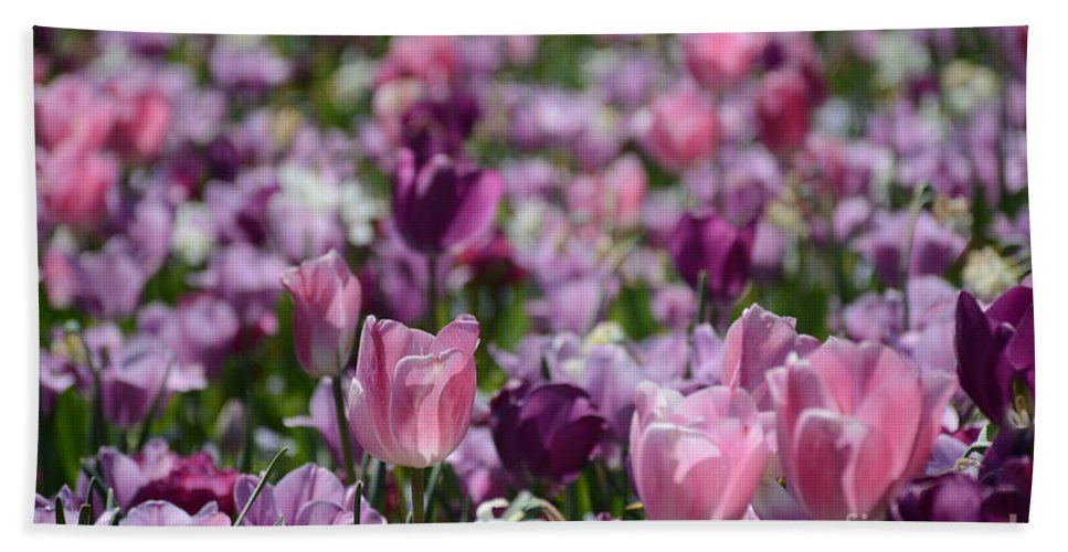 Tulips Hand Towel featuring the painting Days Of Wine And Tulips by Constance Woods