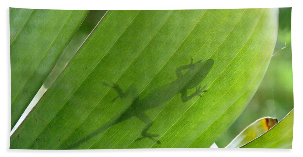 Nature Hand Towel featuring the photograph Shadow Lizard by Peg Urban