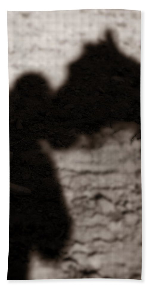 Shadow Hand Towel featuring the photograph Shadow Of Horse And Girl - Vertical by Angela Rath