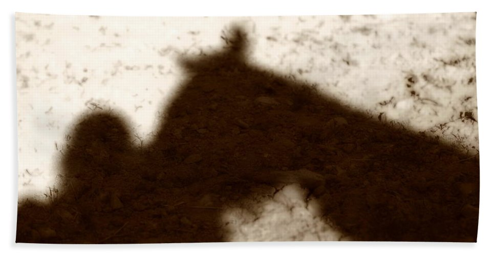 Shadow Hand Towel featuring the photograph Shadow Of Horse And Girl by Angela Rath