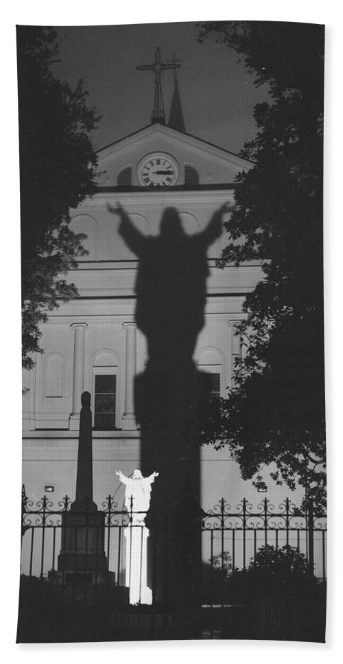 Structure Hand Towel featuring the photograph Shadow Of Jesus by Michelle Powell