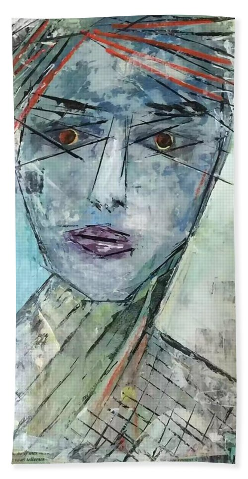 Abstract Face Bath Sheet featuring the mixed media Shadow Of The Soul by Melissa Pavlovski