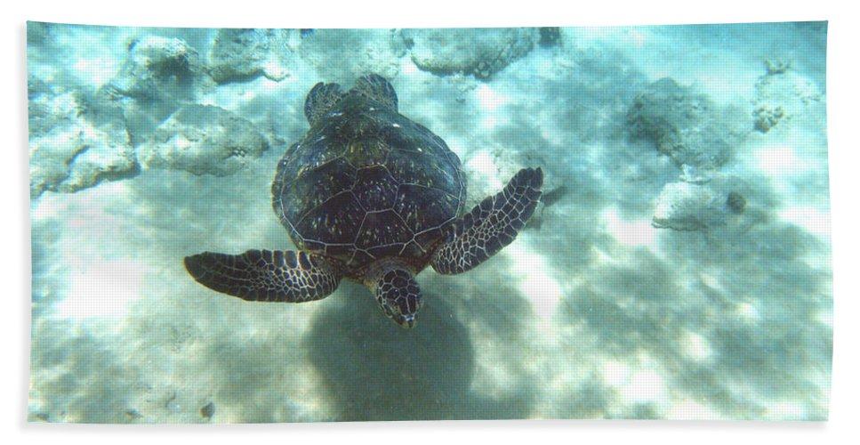 Sea Turtle Bath Sheet featuring the photograph Shadow Race by Angie Hamlin