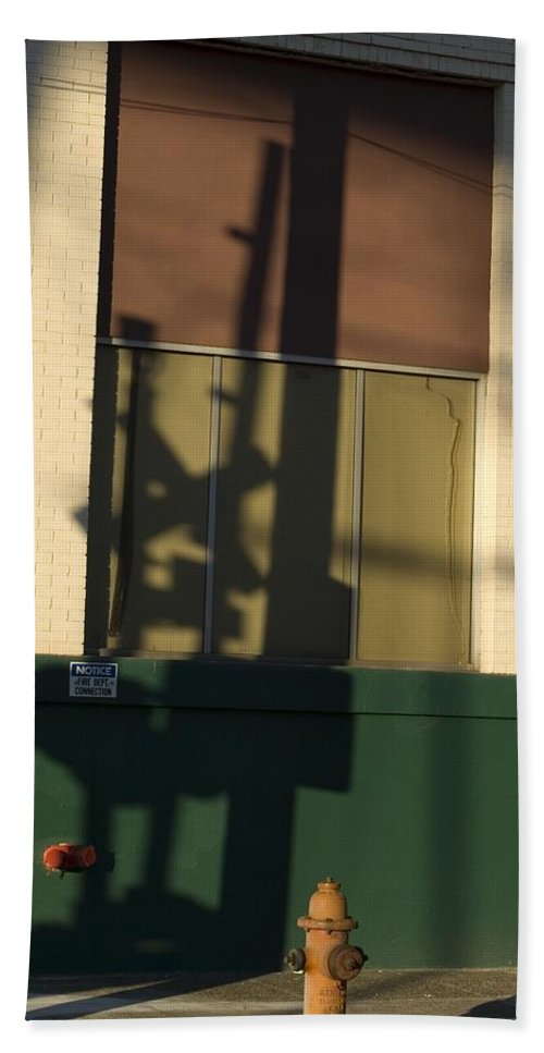 Railroad Crossing Sign Hand Towel featuring the photograph Shadow by Sara Stevenson
