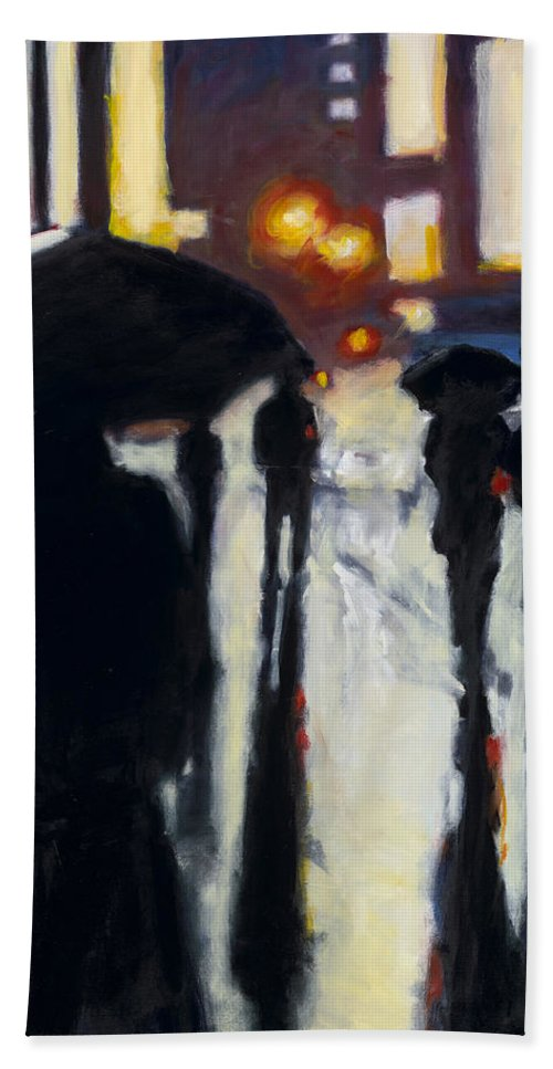 Rob Reeves Hand Towel featuring the painting Shadows In The Rain by Robert Reeves