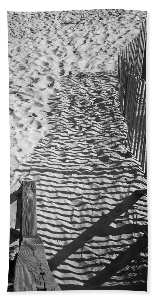 Shadow Bath Towel featuring the photograph Shadows In The Sand by Teresa Mucha