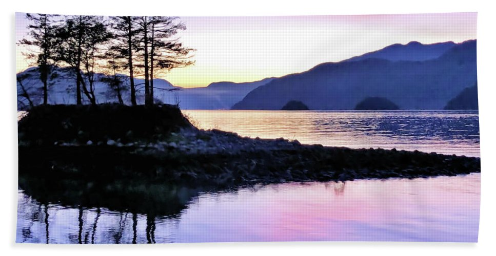 Sunset Bath Sheet featuring the photograph Shadows Of Furry Creek by Victor K