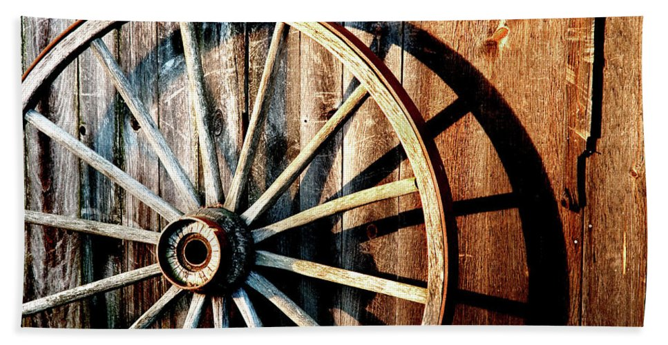 Wagon Wheel Bath Sheet featuring the photograph Shadows Of The Past by Greg Fortier