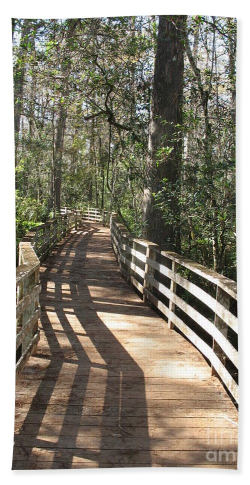 Boardwalk Hand Towel featuring the photograph Shadows On A Boardwalk Through The Swamp by Christiane Schulze Art And Photography