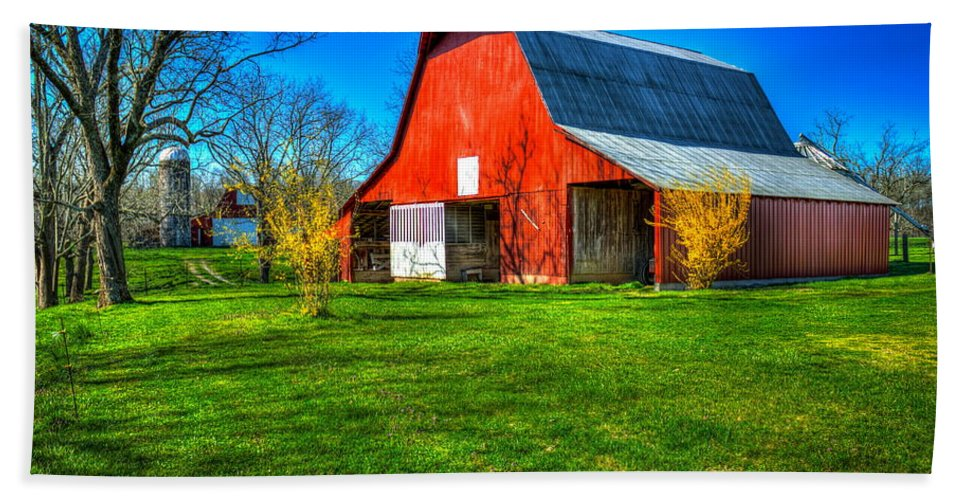 Reid Callaway Shadows On The Barn Hand Towel featuring the photograph Shadows On The Barn Tennessee Farm Art by Reid Callaway