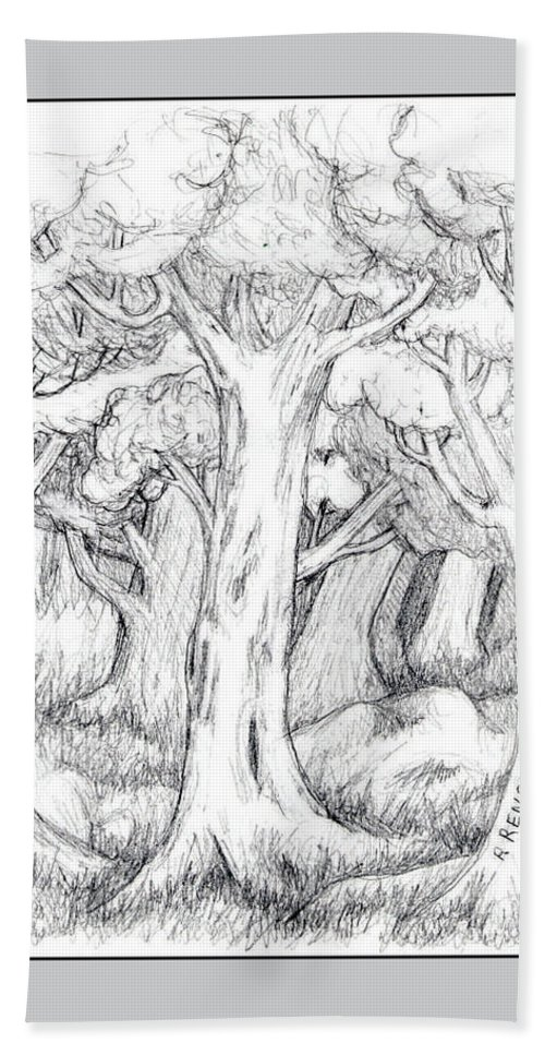 Graphite Pencil Hand Towel featuring the drawing Shady Forest Of Trees by Ruth Renshaw