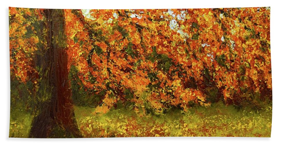 Hand Towel featuring the painting Shady Oak by Barrie Stark