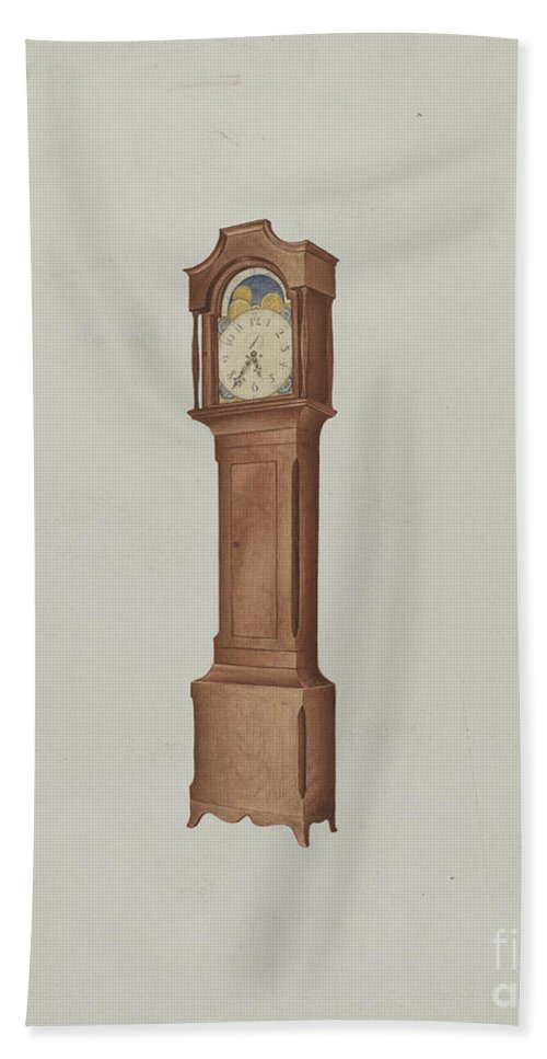 Hand Towel featuring the drawing Shaker Tall Clock by William Paul Childers