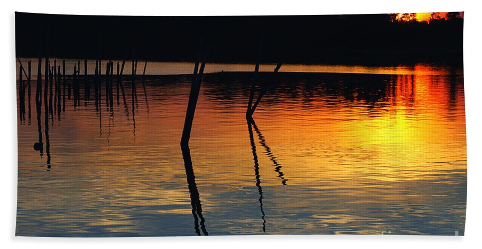 Clay Hand Towel featuring the photograph Shallow Water Sunset by Clayton Bruster