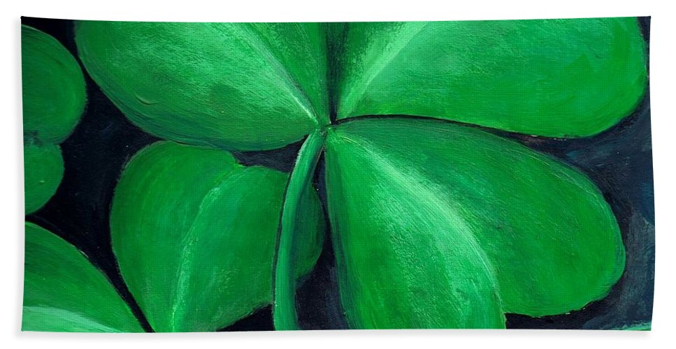 Shamrock Bath Towel featuring the painting Shamrocks by Nancy Mueller